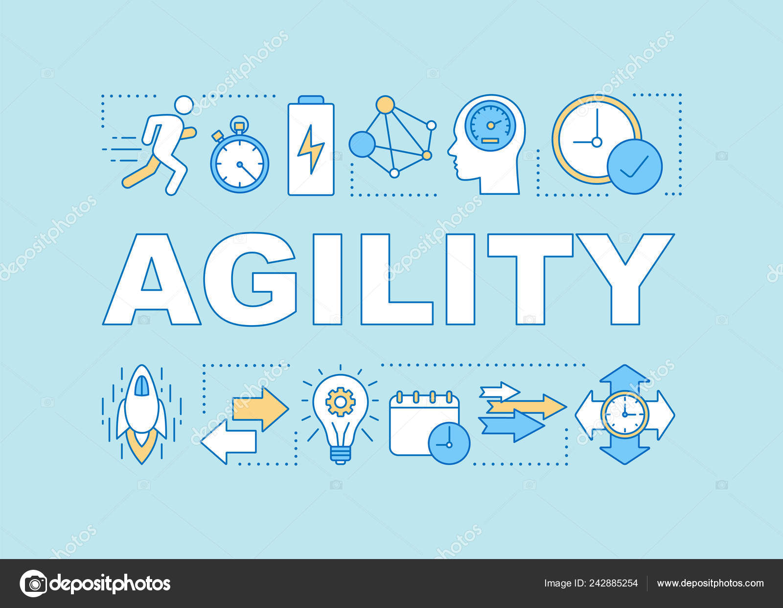 Agility Word Concepts Banner Timeliness Time Management Productivity Efficiency Respect Stock Vector C Bsd 242885254