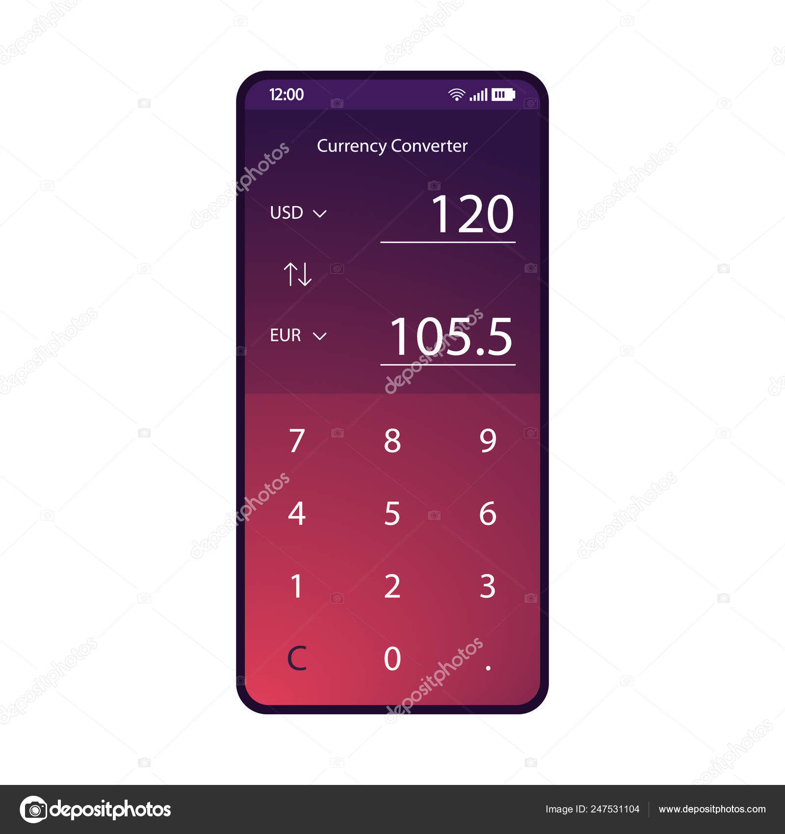 Currency Converter App Smartphone Interface Vector Template Mobile