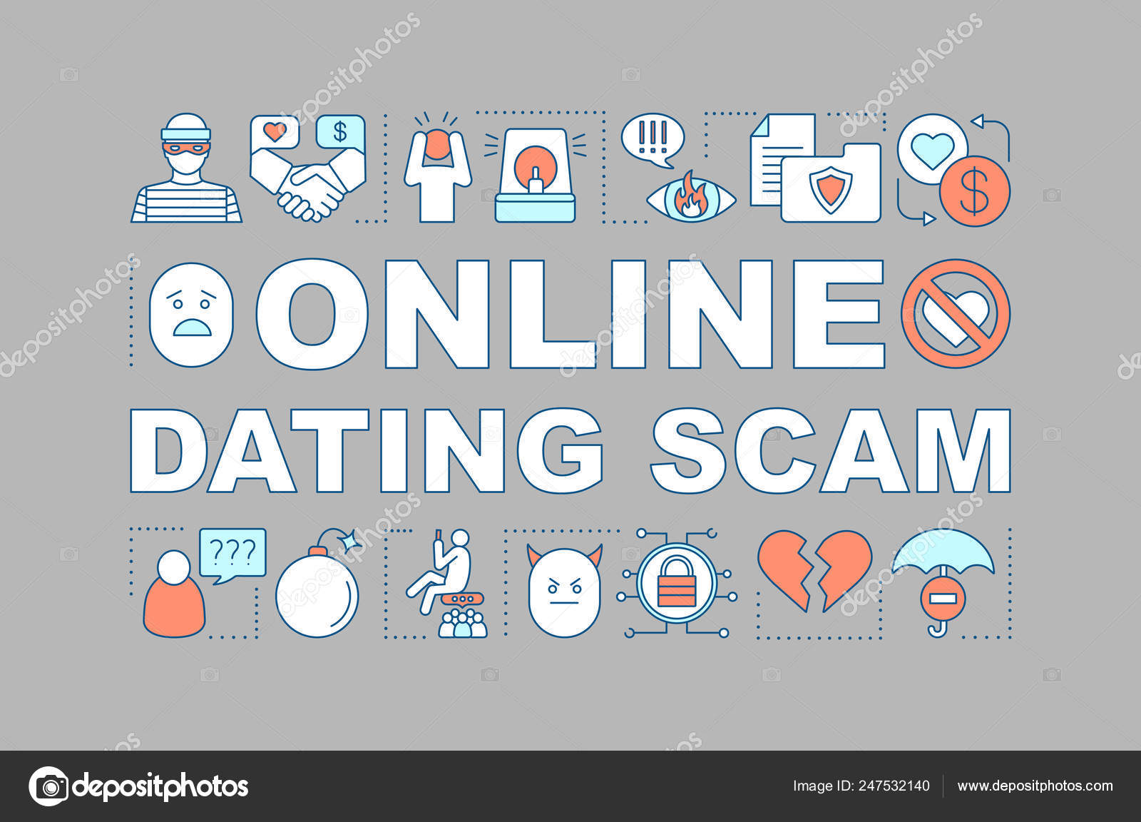 Online Dating Scam Word Concepts Banner Love Cheating Fraud Romance