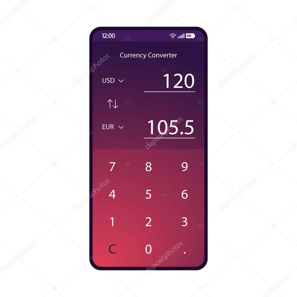 Currency Converter App Smartphone Interface Vector Template Mobile Money Exchanger Page Purple Design Layout Conversion Calculator Screen Flat Gradient Ui Usd Eur Exchange Rate Phone Application Premium Vector In Adobe Illustrator