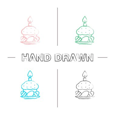 Easter cake, eggs and candle hand drawn icons set. Color brush stroke. Isolated vector sketchy illustrations icon