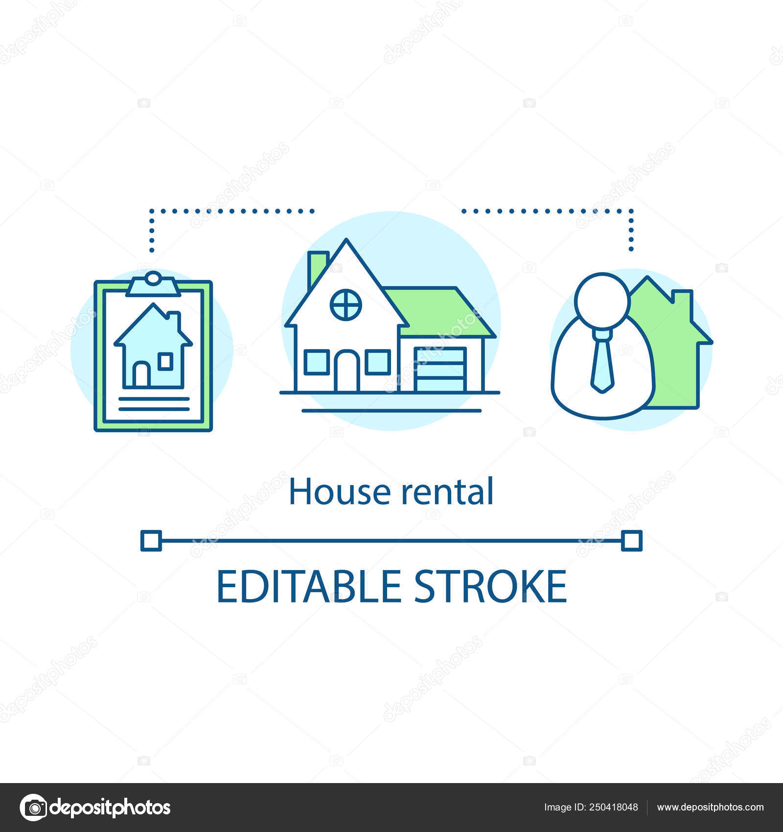 House Rental Concept Icon Real Estate Agent Cottage Family