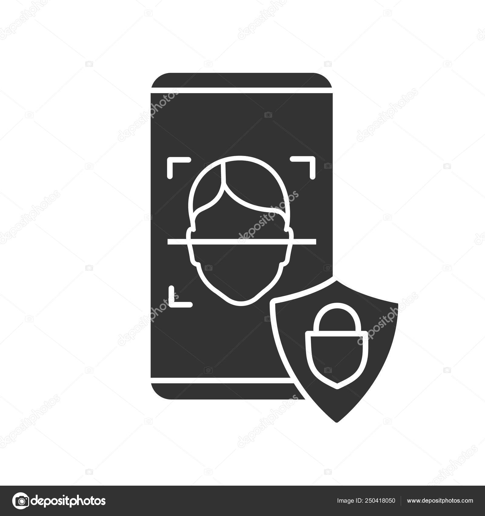 Banking App Facial Recognition Glyph Icon Silhouette Symbol