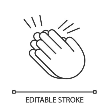 Clapping hands emoji linear icon. Thin line illustration. Applause gesture. Congratulation. Contour symbol. Vector isolated outline drawing. Editable stroke