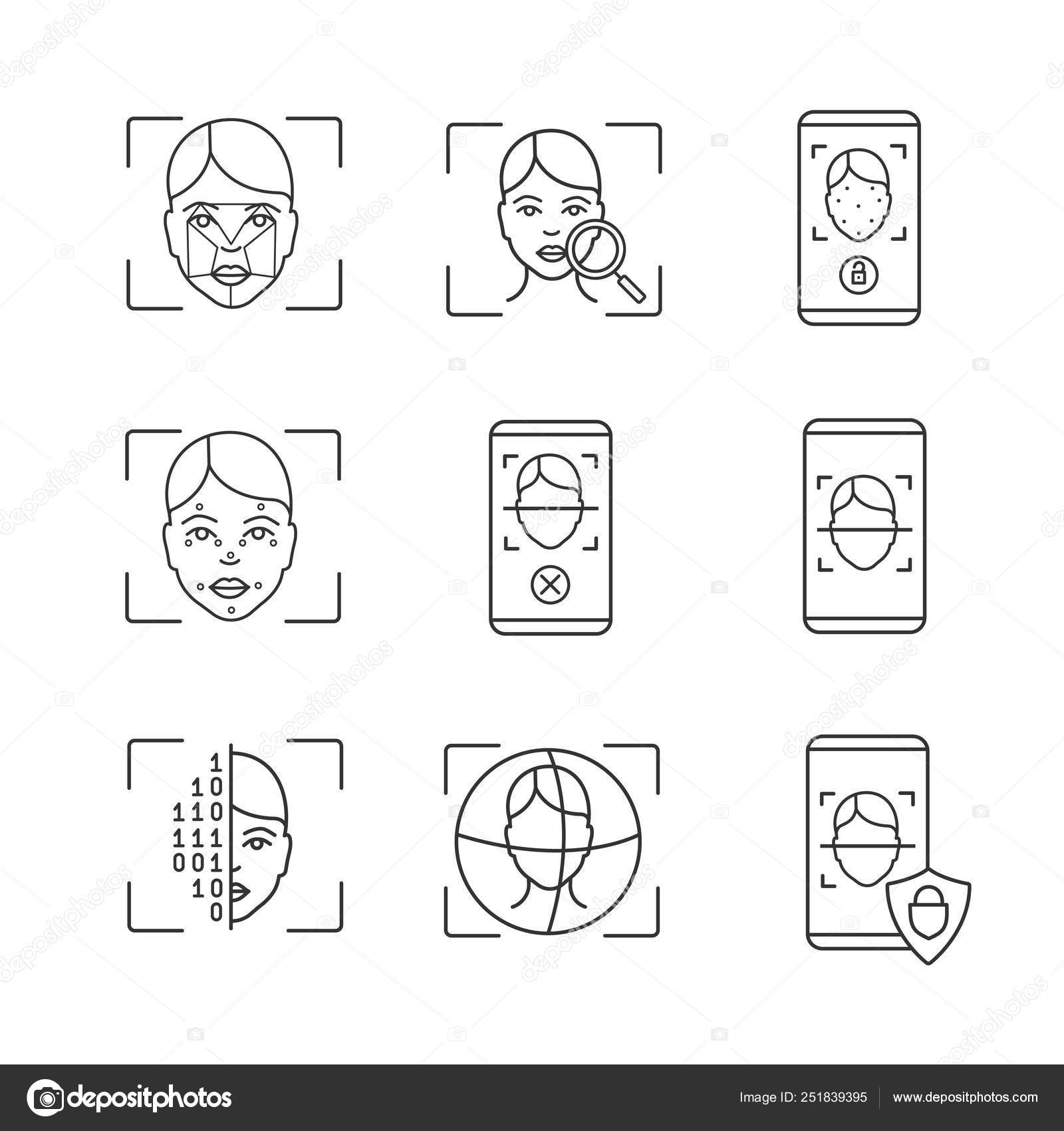 Facial Recognition Linear Icons Set Thin Line Contour