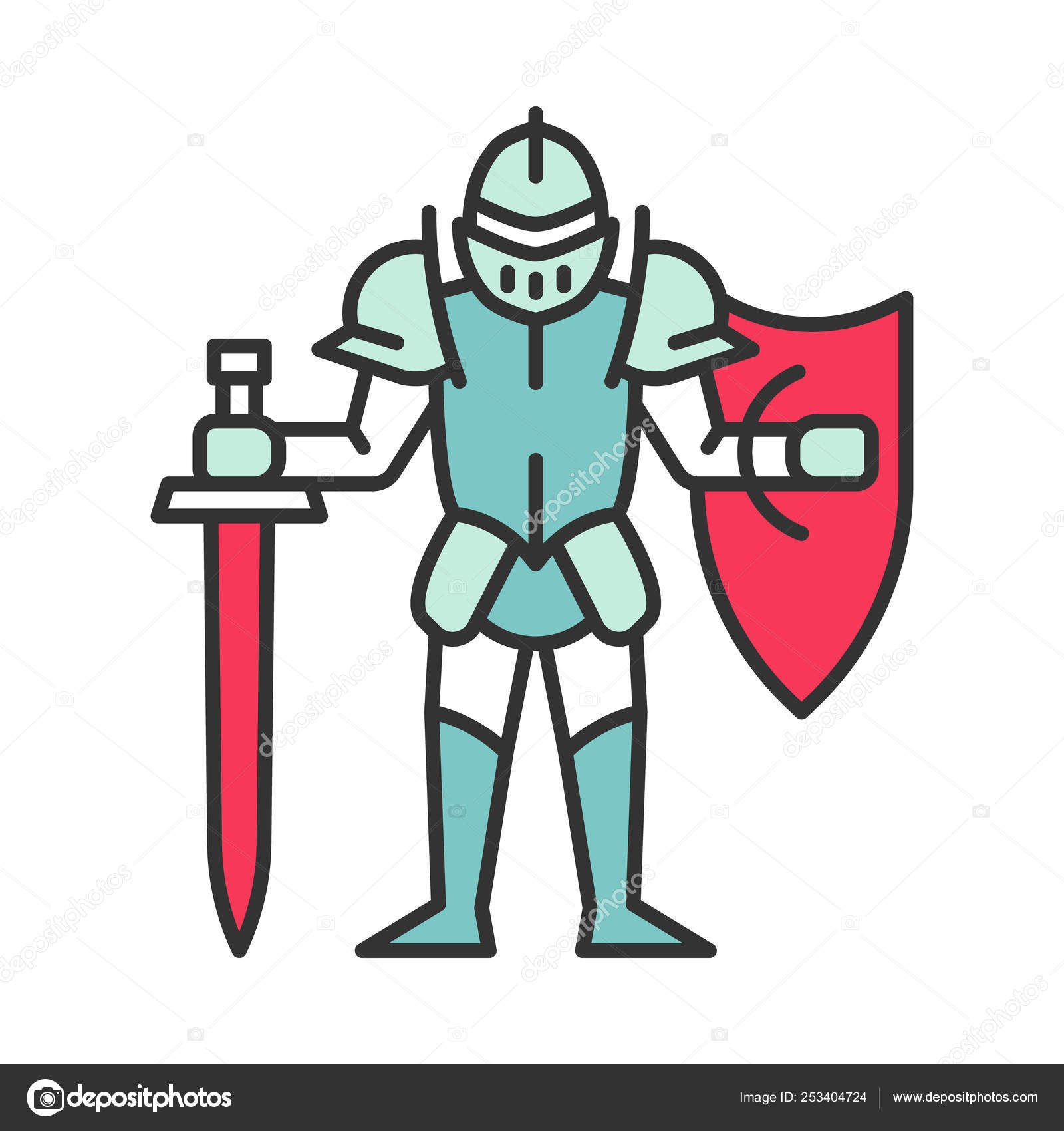 Medieval knight with shield and sword color icon \u2014 Stock