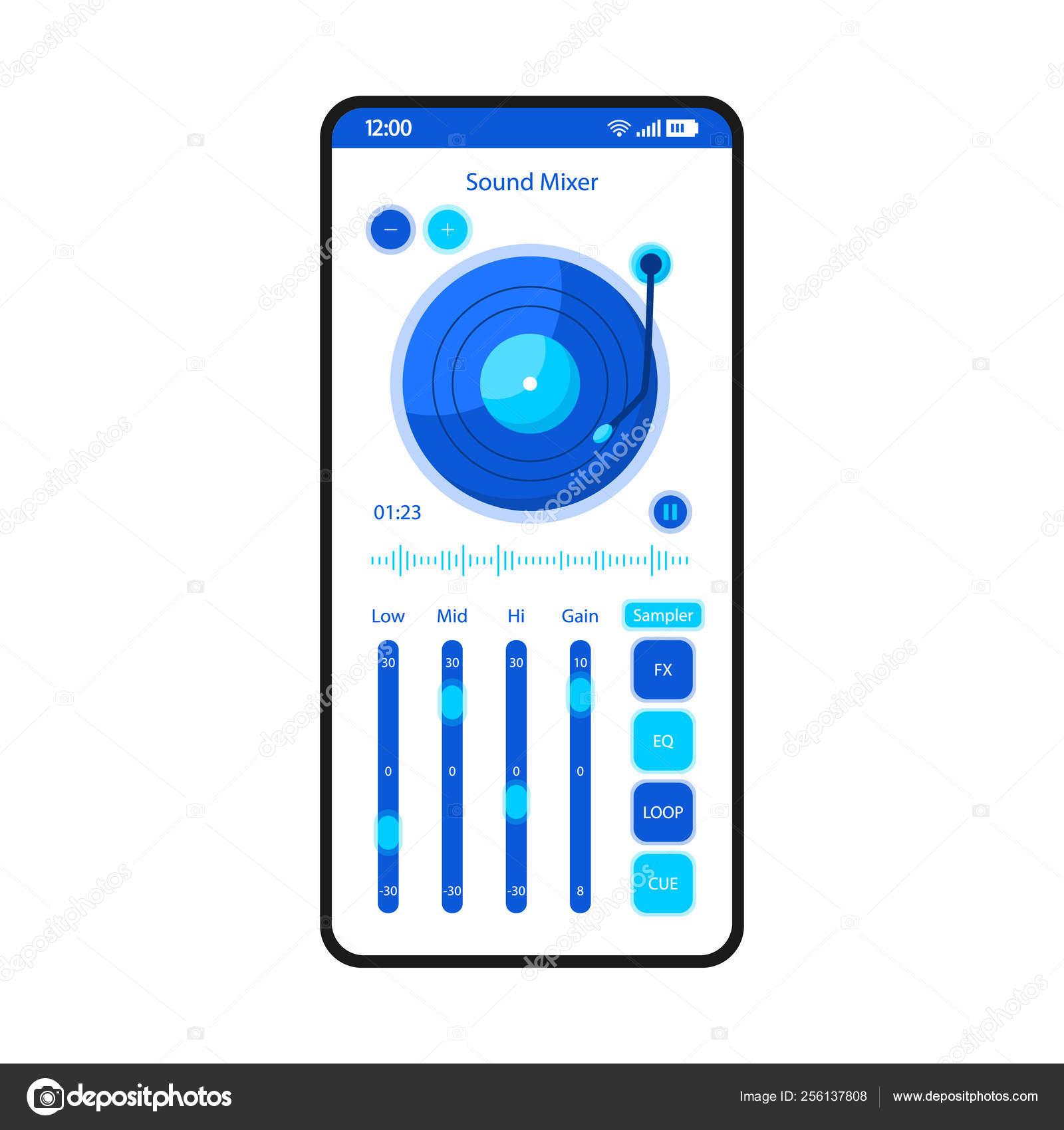 Sound Mixer App Smartphone Interface Vector Template Mobile