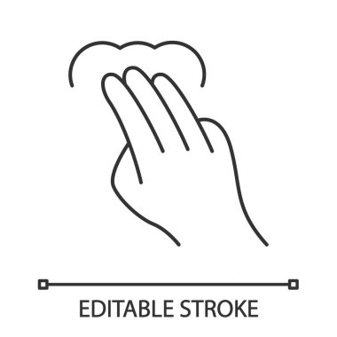 Touchscreen gesture linear icon. 3x tap, point, click gesturing. Human hand and fingers. Using sensory devices. Thin line illustration. Contour symbol. Vector isolated outline drawing. Editable stroke