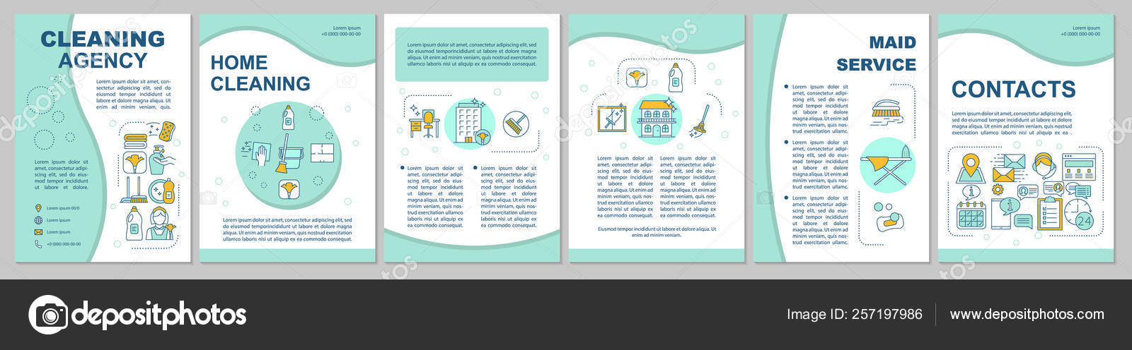 Cleaning agency brochure template layout — Stock Vector © bsd #257197986