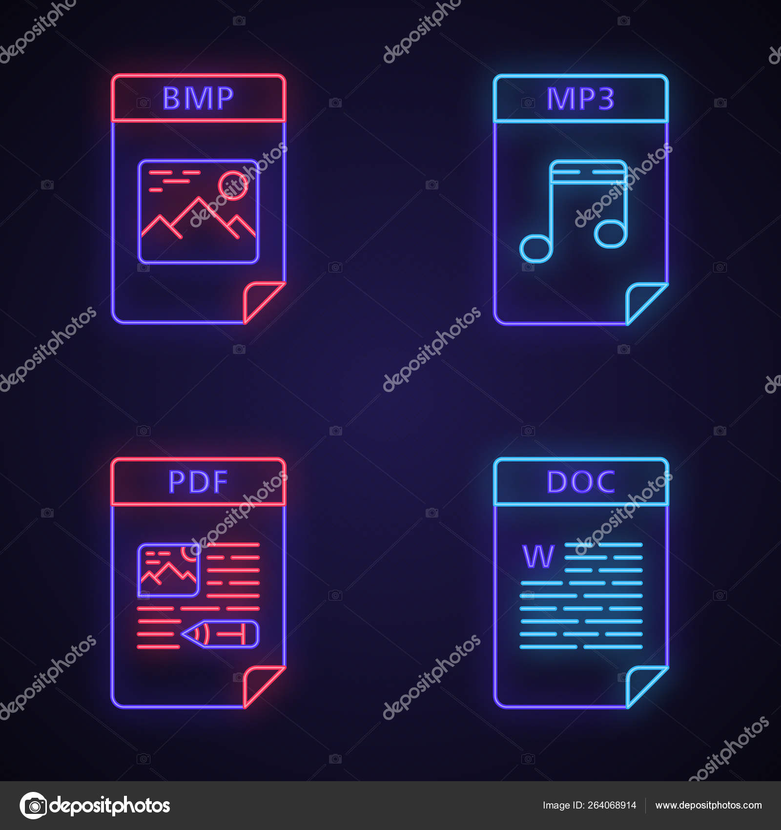 Files format neon light icons set — Stock Vector © bsd #264068914