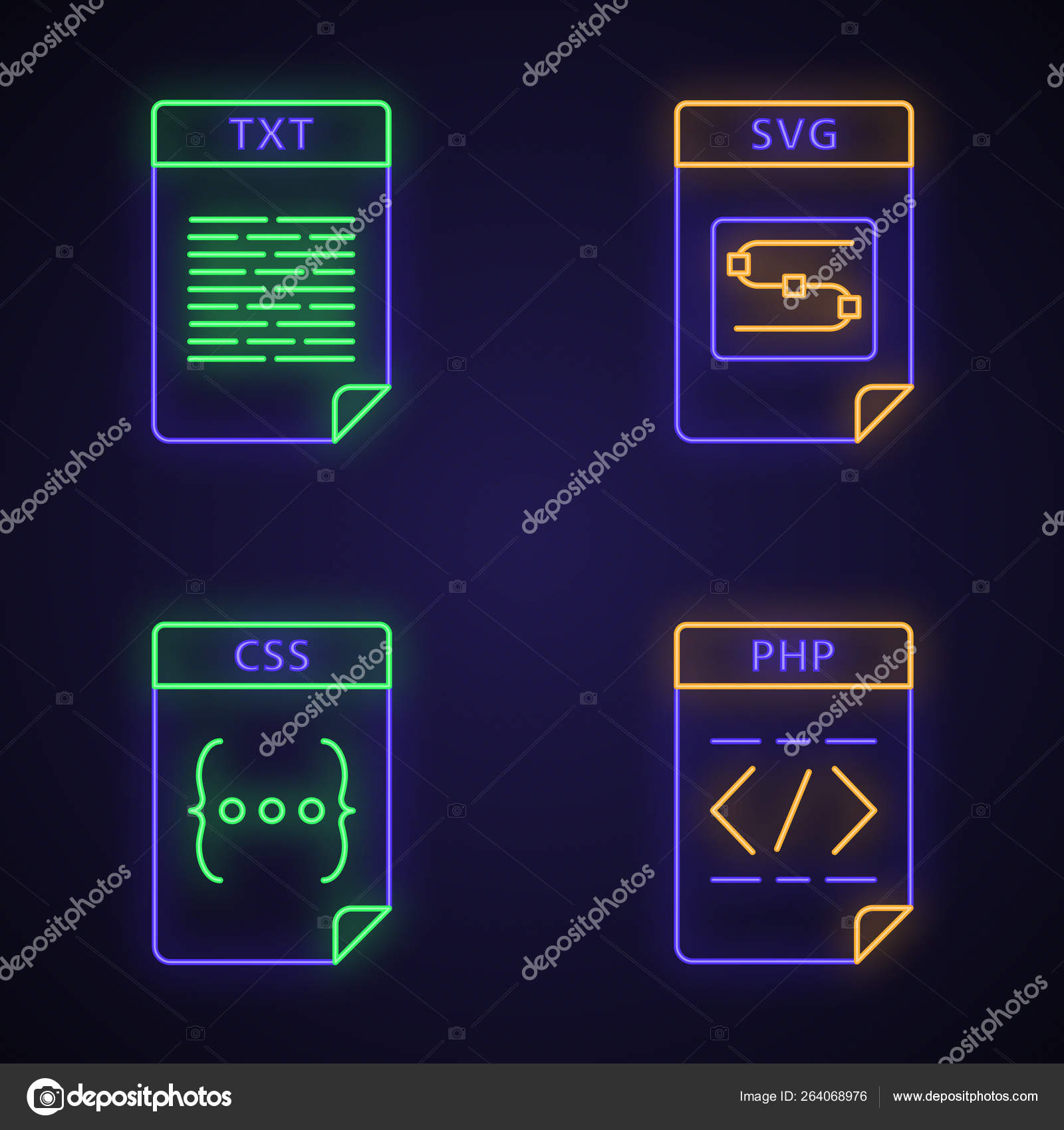 Files format neon light icons set — Stock Vector © bsd