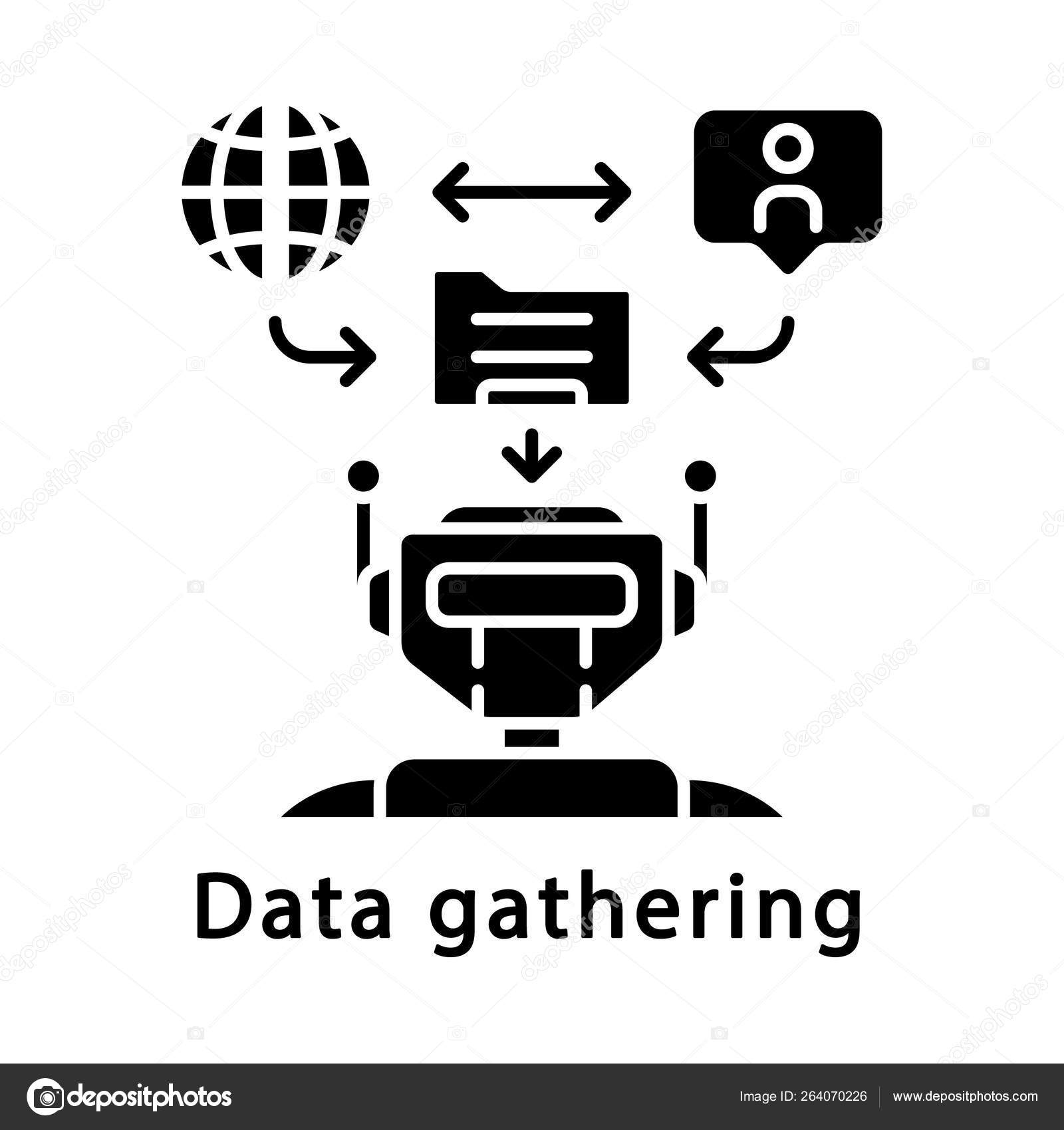 Data Gathering Glyph Icon Stock Vector C Bsd 264070226