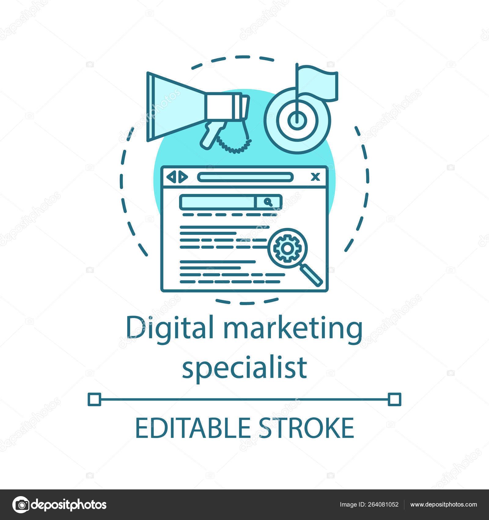 Icone Conceito Especialista Marketing Digital Search Engine Optimization Ideia Ilustracao Vetores De Stock C Bsd 264081052