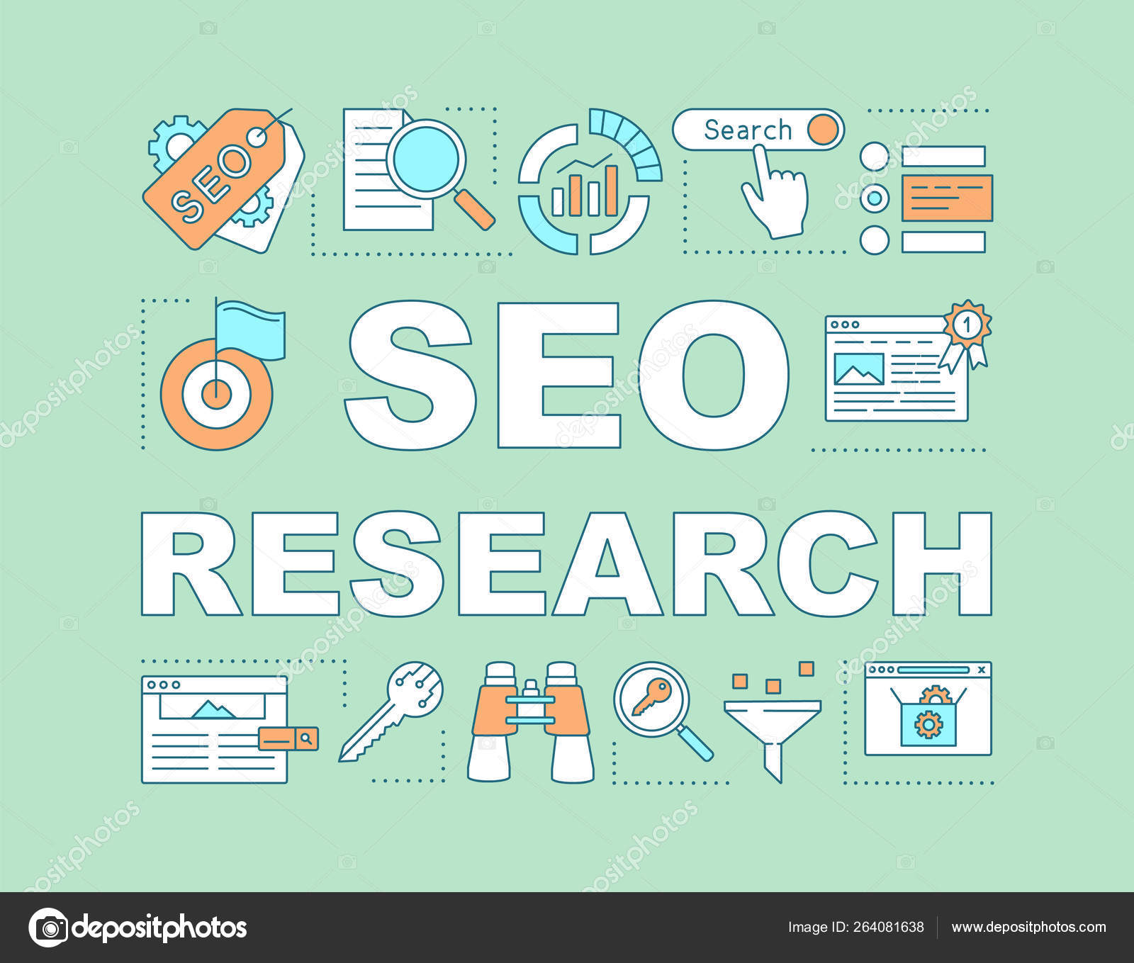 Seo Research Word Concepts Banner Digital Marketing Strategy