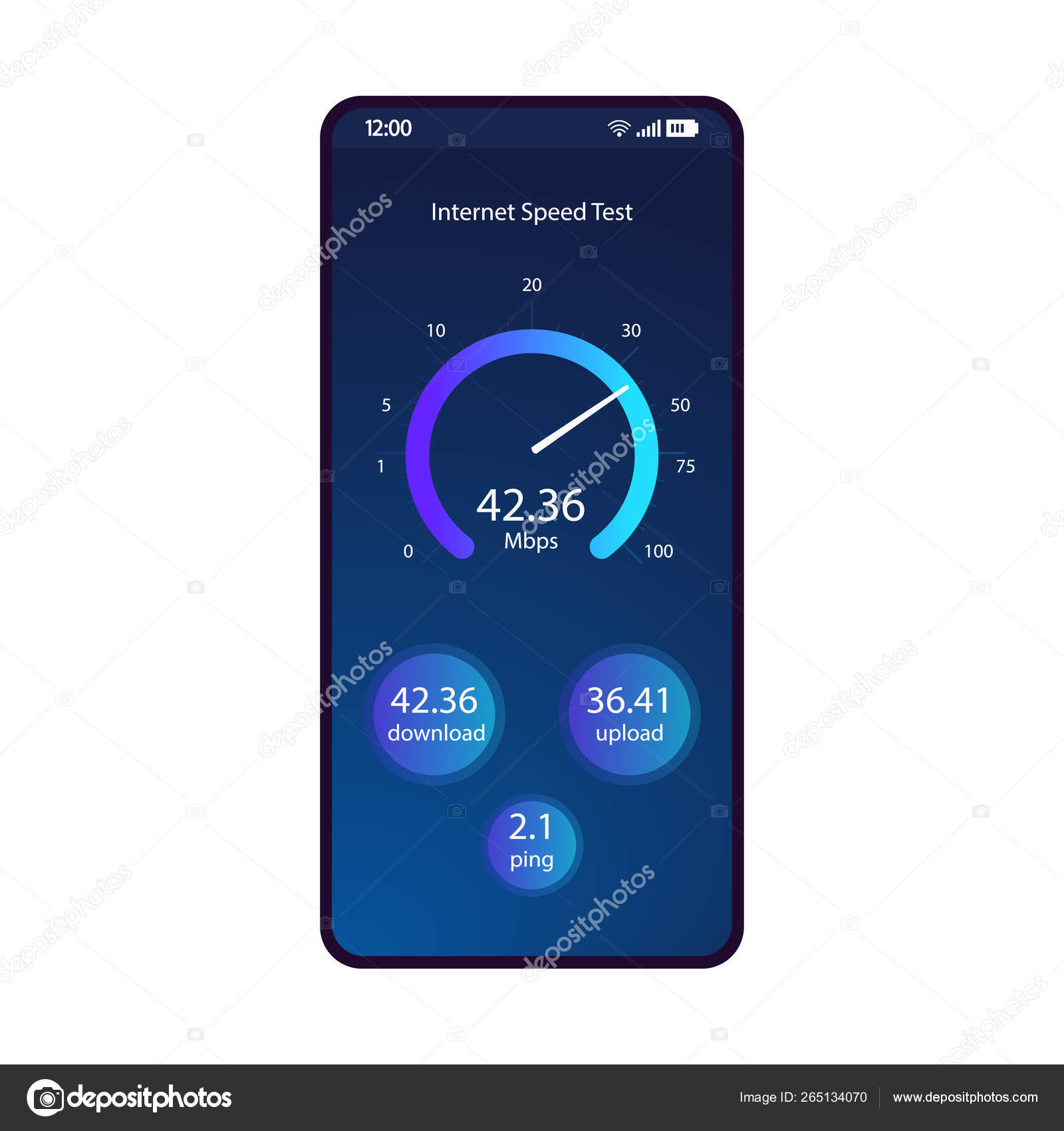 Internet speed test smartphone interface vector template