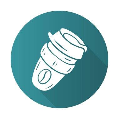 Reusable coffee cup flat design long shadow glyph icon
