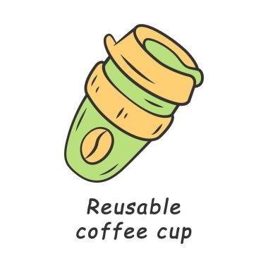 Reusable coffee cup color icon