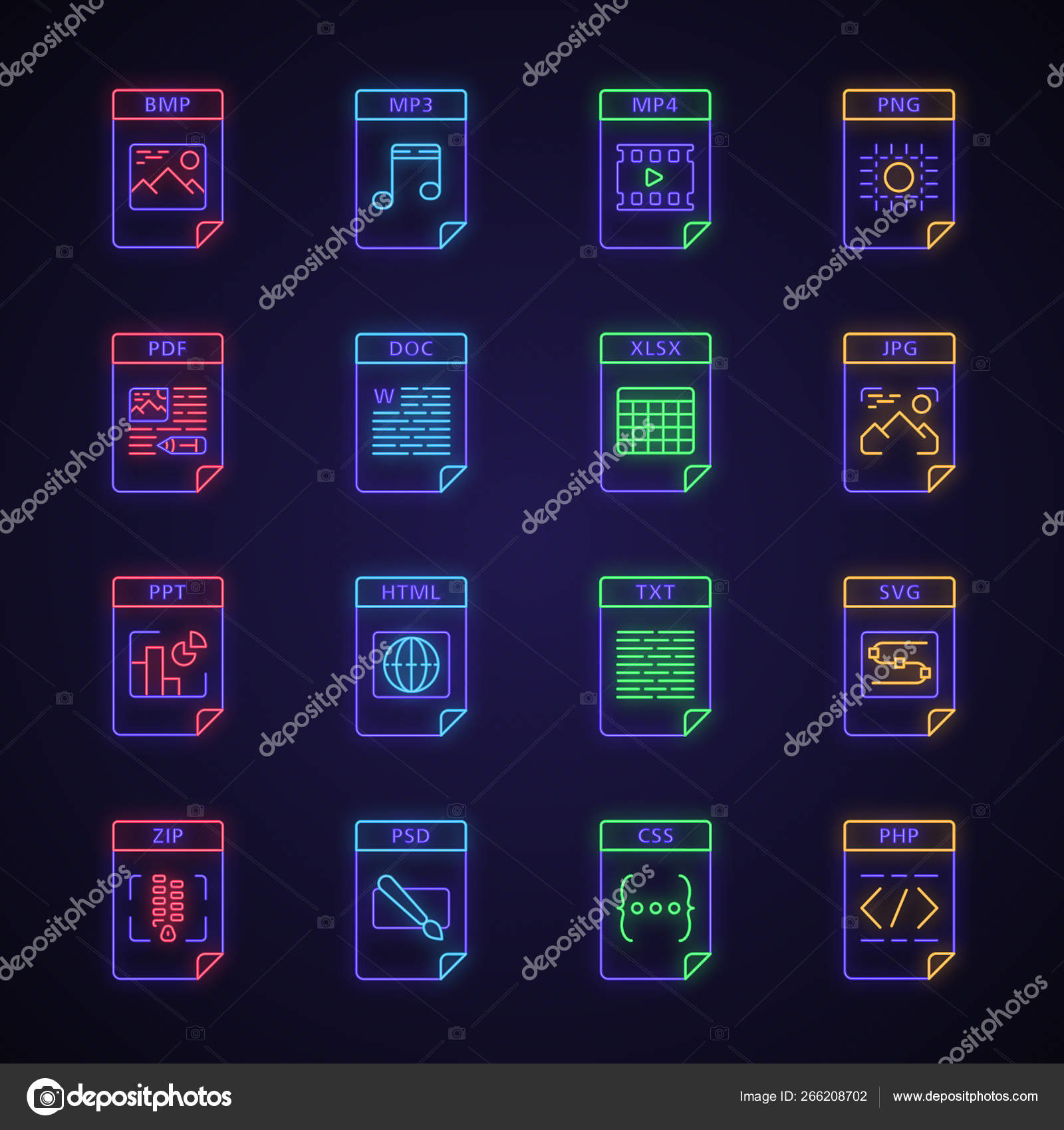 Files format neon light icons set — Векторное изображение
