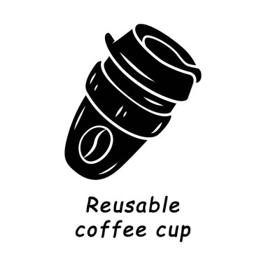 Reusable coffee cup glyph icon