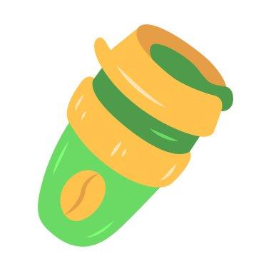 Reusable coffee cup flat design long shadow color icon