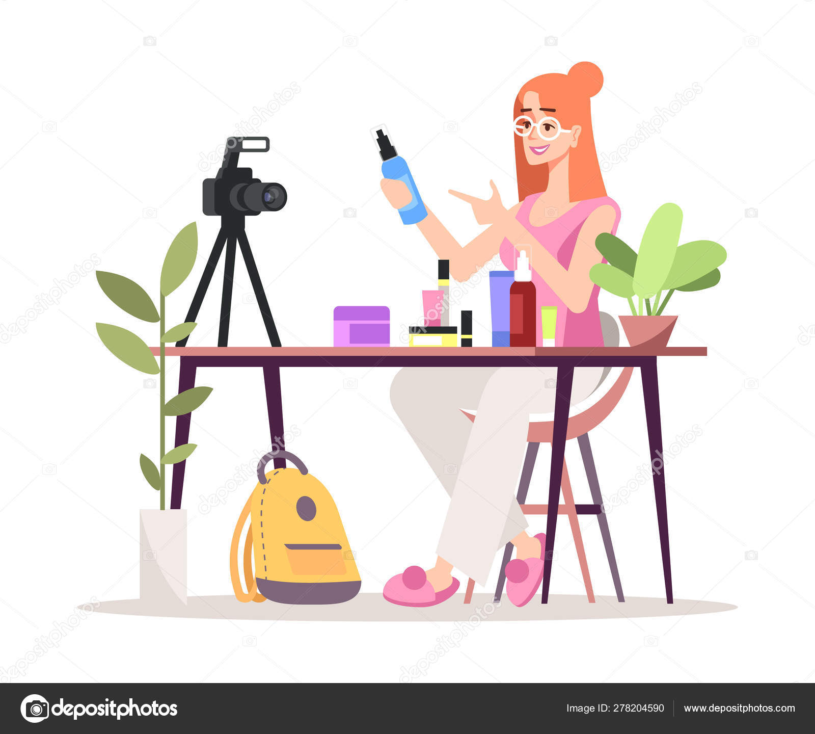 Cosmetics Online Review Flat Vector Illustration Fashion Beauty Blogger Vlogger Isolated Cartoon Character On White Background Makeup Skincare Products Video Review Influencer Marketing Concept Stock Vector C Bsd 278204590