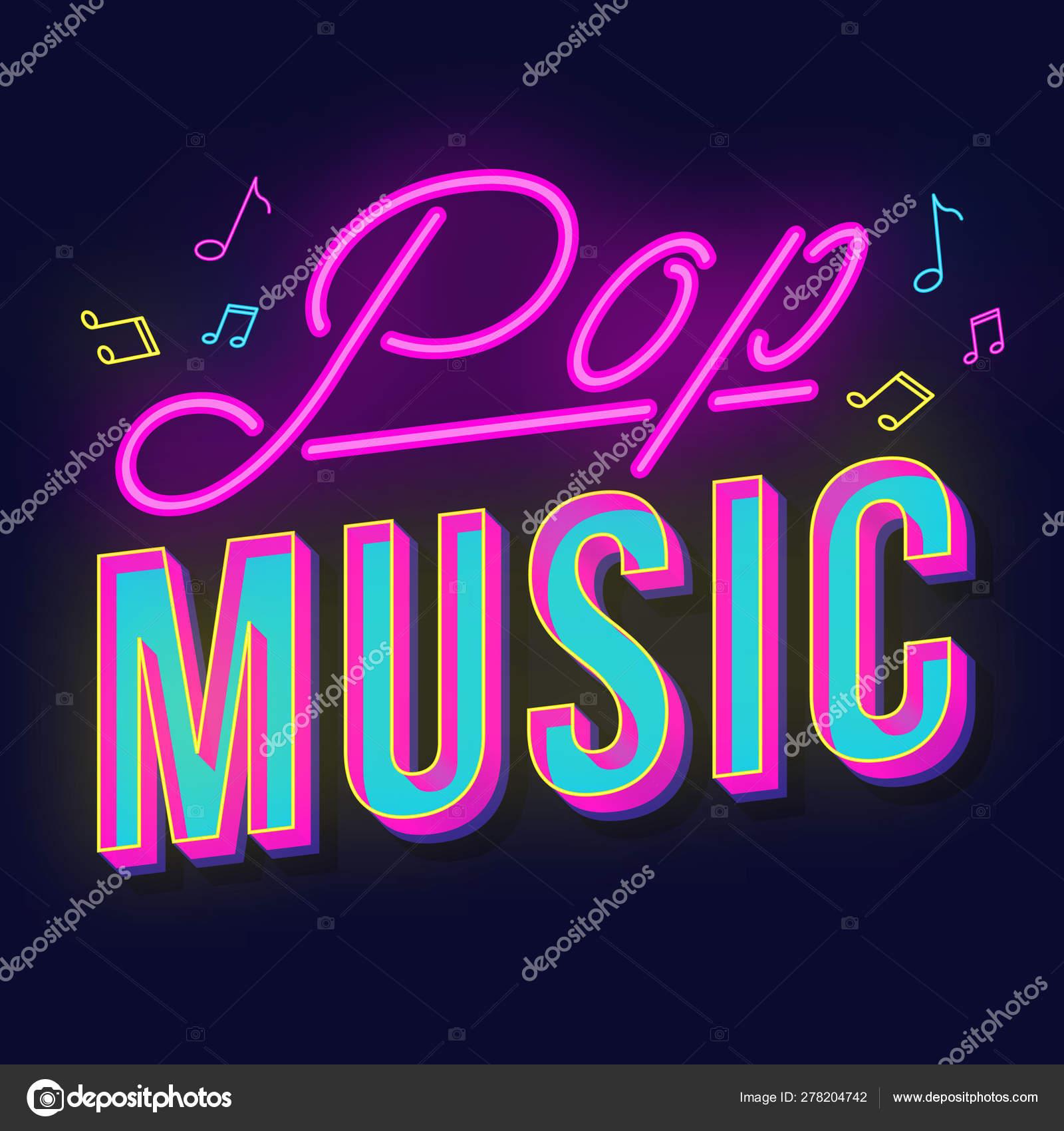 Pop music vintage 3d vector lettering  Retro bold font