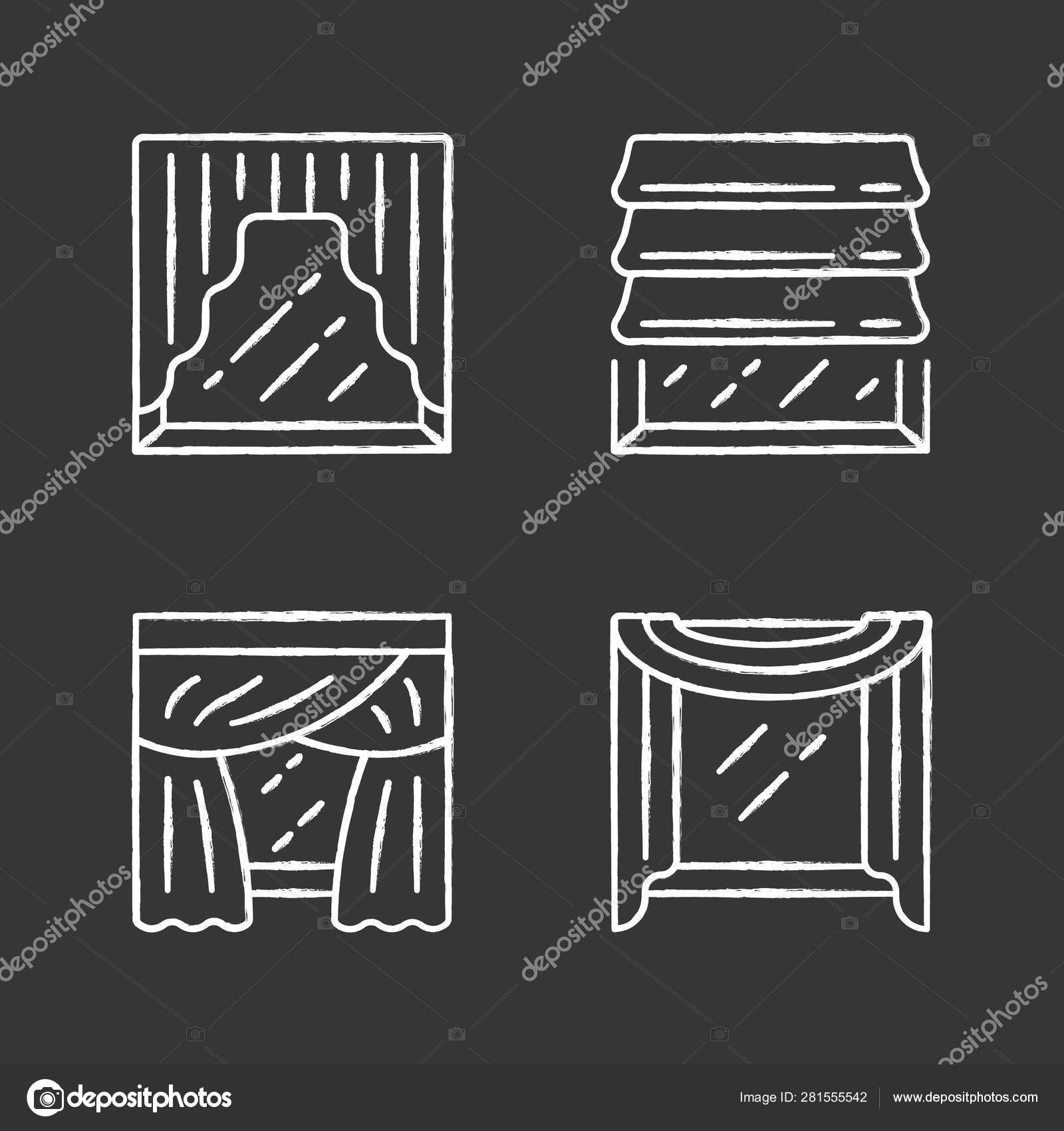 Window Drapes Chalk Icons Set Roman Shades Swags Priscilla Curtains Window Scarf Home Interior Decor Kitchen Bedroom Living Room Decoration Isolated Vector Chalkboard Illustrations Vector Image By C Bsd Vector Stock 281555542