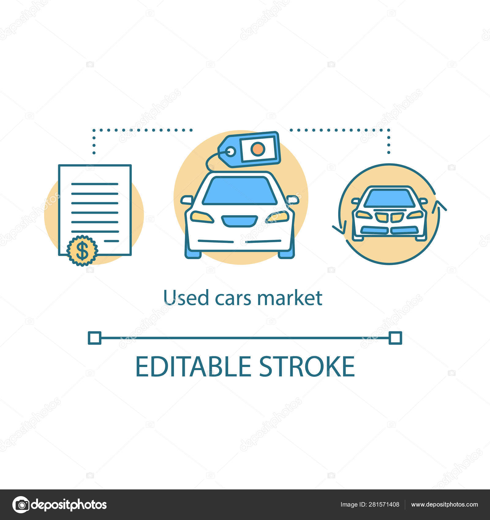 Used cars market concept icon  Taxi ordering idea thin line