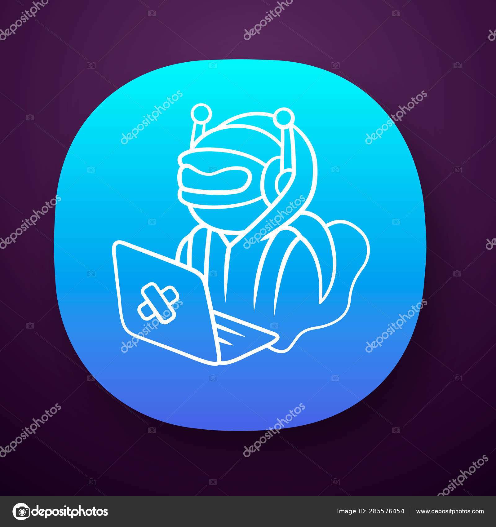 Hacker bot app icon  Virus robot  Cyber pirate attack, crime