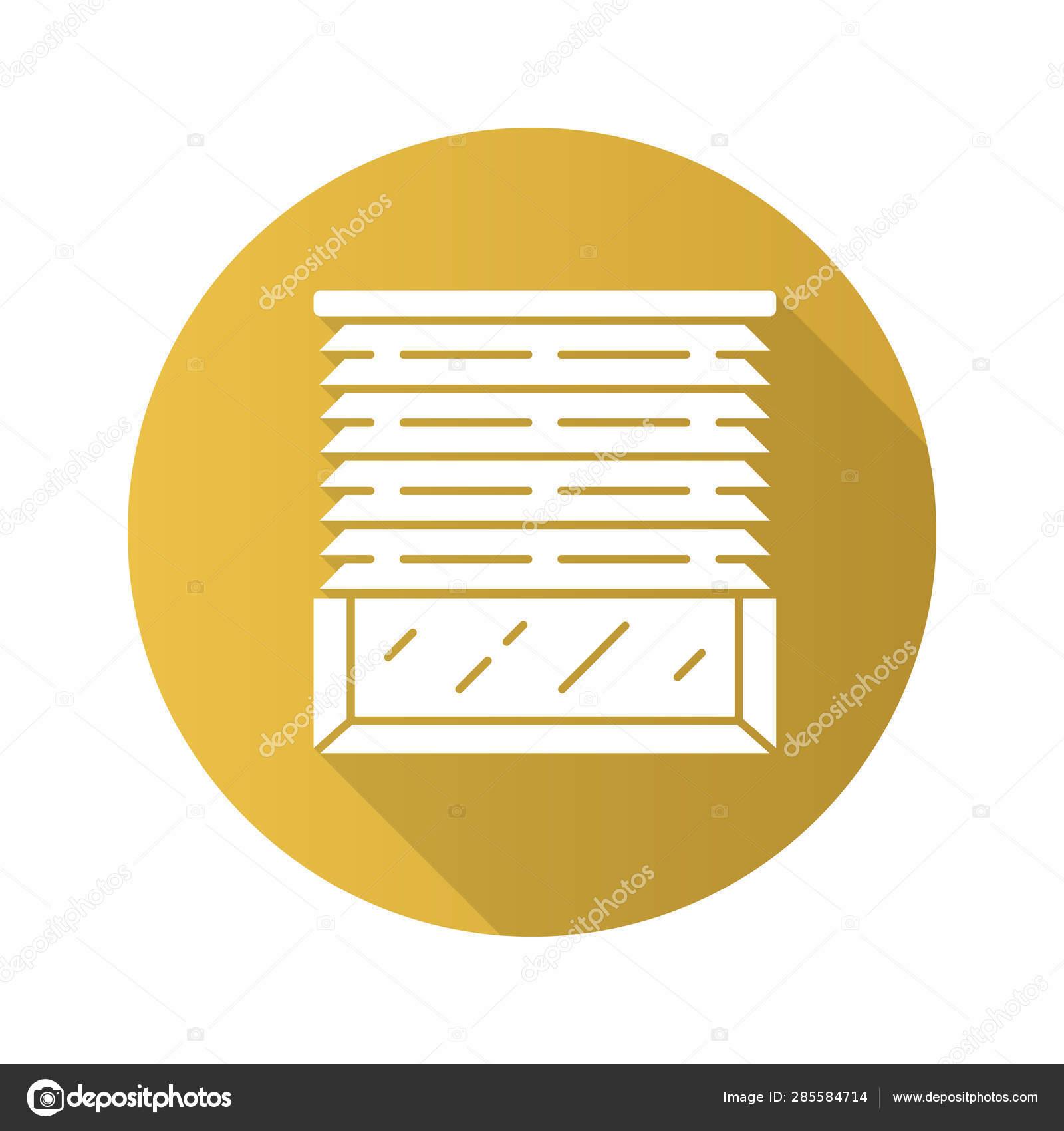 Venetian Blinds Flat Design Long Shadow Glyph Icon House