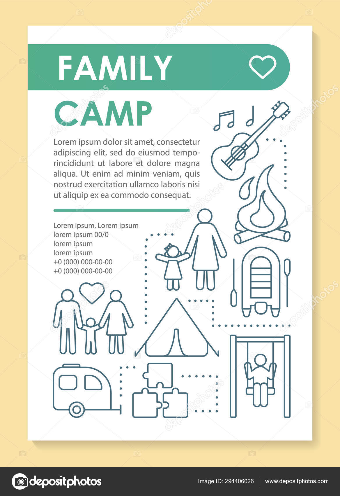 Country, outdoor family camping trip brochure template