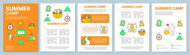 Summer outdoor adventure camp brochure template layout. Flyer, booklet, leaflet print design with linear illustrations. Vector page layouts for magazines, annual reports, advertising posters