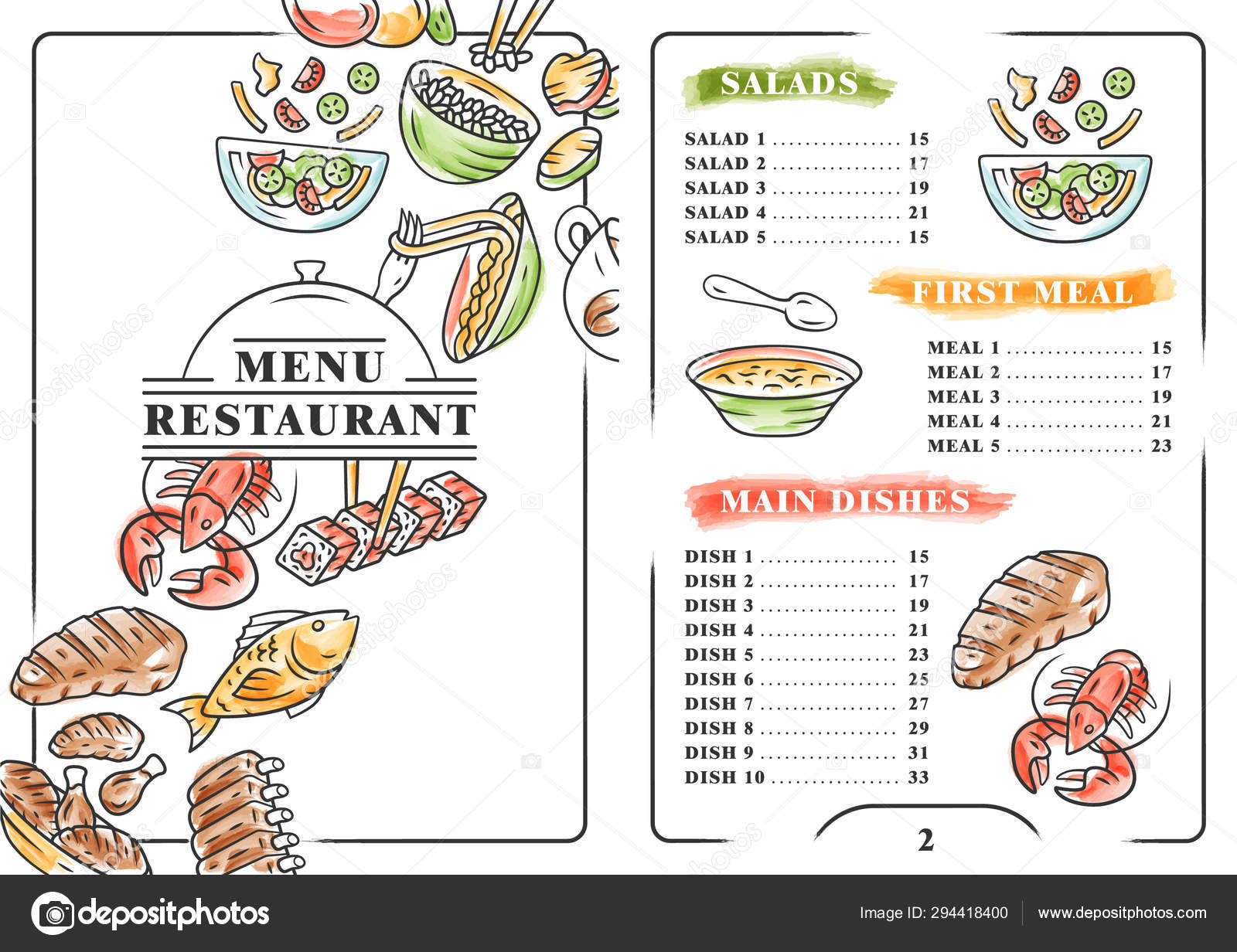 Restaurant Menu Color Template Salads First Meal Main Dishes Print Design With Linear Icons Concept Vector Illustrations Cafe Banner Flyer Brochure Page With Food Prices Layout Stock Vector C Bsd 294418400