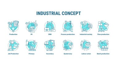 Industrial blue concept icons set. Economy segment idea thin line illustrations. Primary, secondary industry. Batch production, labour union. Vector isolated outline drawings. Editable stroke icon
