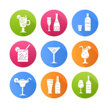 Drinks flat design long shadow glyph icons set. Alcohol drinks card. Champagne, vodka, hot toddy, wine, beer, cocktail in lowball glass, martini, margarita, pina colada. Vector silhouette illustration icon