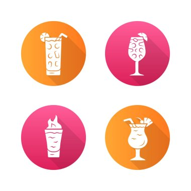 Drinks flat design long shadow glyph icons set. Cocktail in highball glass, hot toddy, pina colada, flaming shot. Alcoholic mixes and soft beverages. Vector silhouette illustration icon