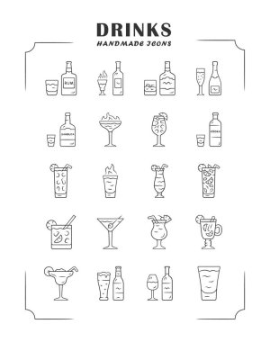 Drinks linear icons set. Alcohol menu card. Beverages for cocktails. Refreshing and warming spirit containing liquors. Thin line contour symbols. Isolated vector outline illustrations. Editable stroke icon