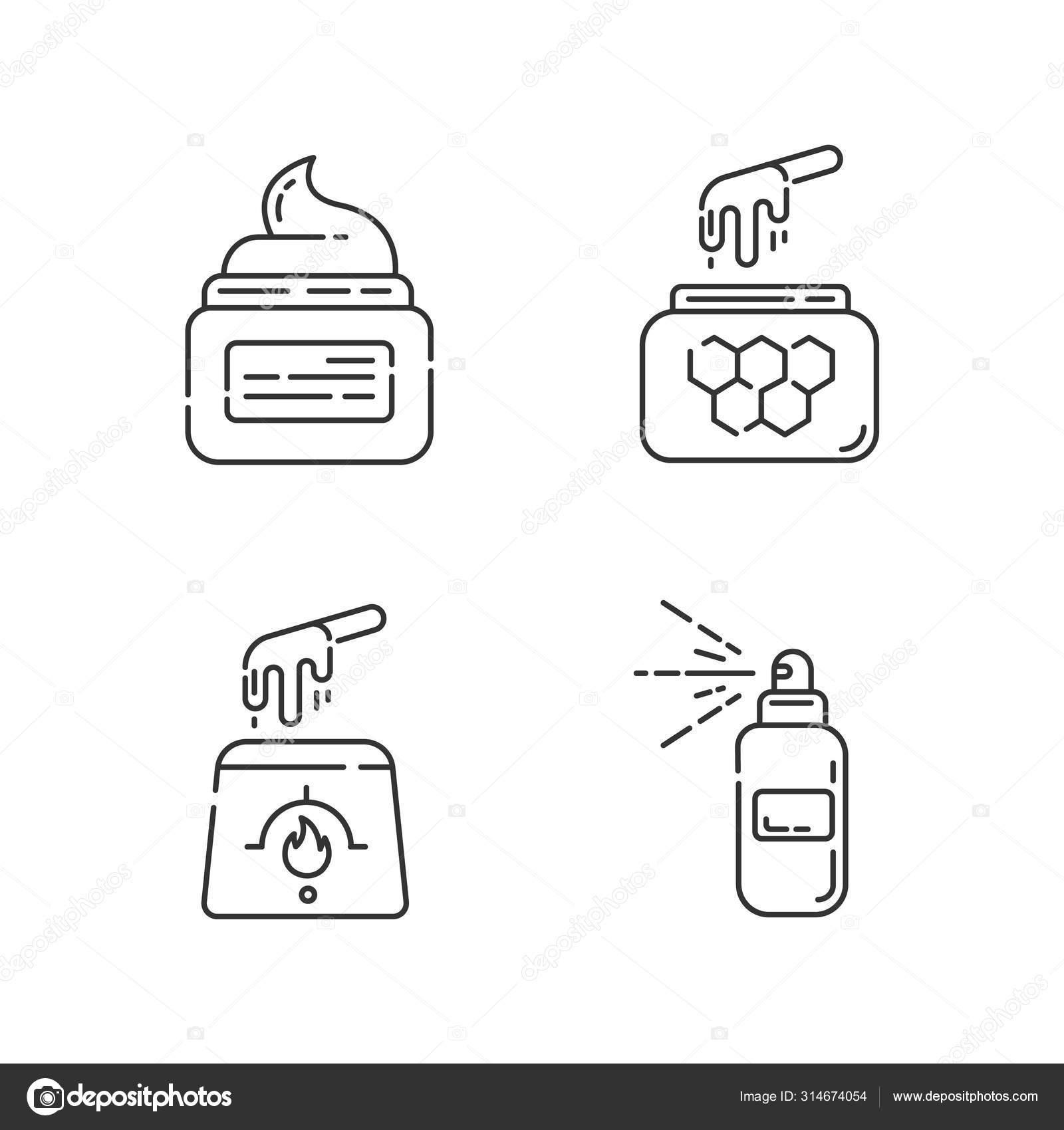 Natural Waxing Linear Icons Set Hot Soft Honey Wax In Jar Hair
