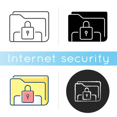 Documents security icon. Personal data encryption. Online file rights. Information protection. Folder electronic lock. Linear black and RGB color styles. Isolated vector illustrations icon