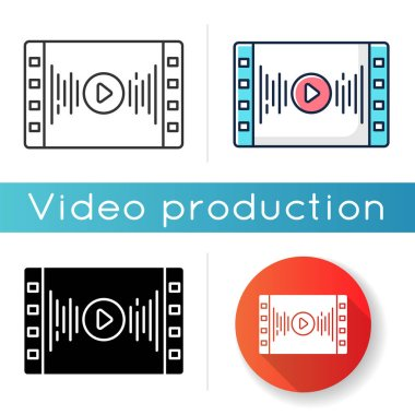 Music video icon. Audio player. Sound equalizer. Videography and multimedia. Songs live streaming service. Linear black and RGB color styles. Isolated vector illustrations icon