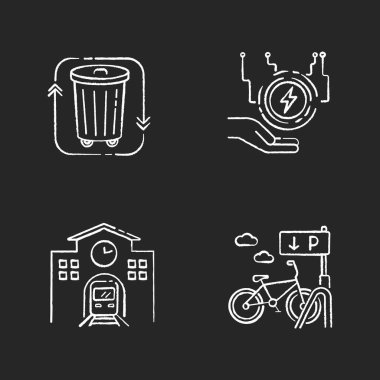 Eco friendly city chalk white icons set on black background. Electricity supply. Waste disposal. Railway station. Passenger commuter. Bicycle parking rack. Isolated vector chalkboard illustrations icon