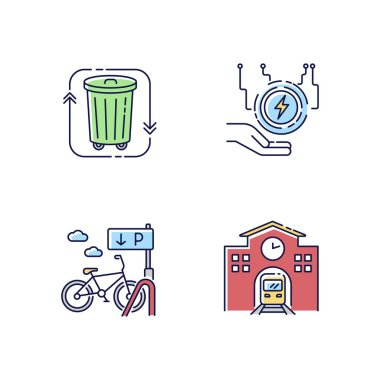 Eco friendly city RGB color icons set. Electricity supply. Waste disposal. Railway station. Passenger commuter. Bicycle parking rack. Public transportation. Isolated vector illustrations icon