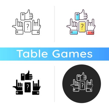 Charades icon. Traditional team play, party amusement. Linear black and RGB color styles. Recreational activity for friends and family. Question and hand signs isolated vector illustrations icon