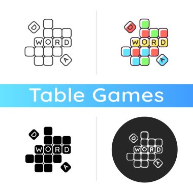 Word game icon. Traditional family entertainment, friendly party amusement. Linear black and RGB color styles. Intellectual activity. Blocks with letters isolated vector illustrations icon