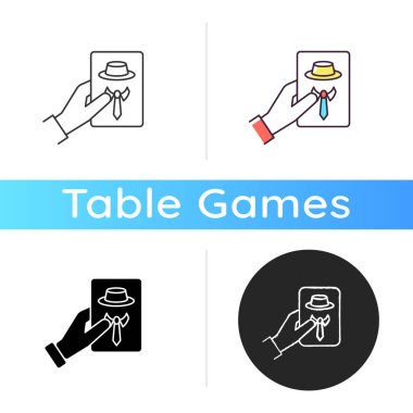 Guess game icon. Traditional party entertainment, social deduction game. Linear black and RGB color styles. Friendly company, group activity. Hand holding card isolated vector illustrations icon