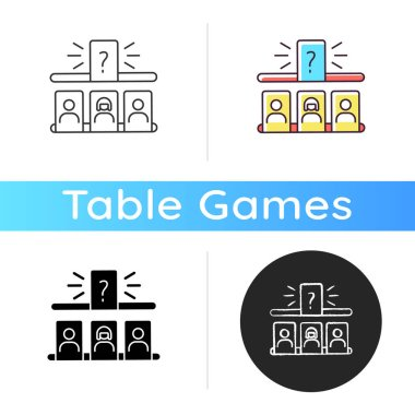 Storytelling game icon. Entertaining family pastime, fun recreation. Game night activity. Linear black and RGB color styles. Play of creativity and imagination. Isolated vector illustrations icon