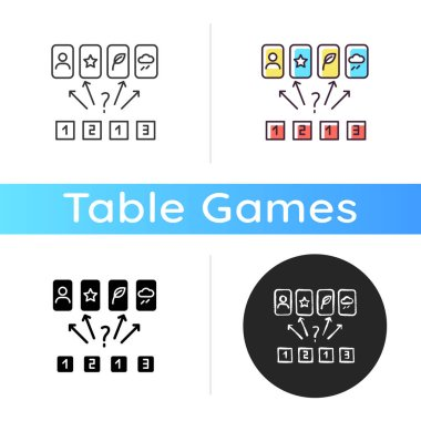 Guess the picture icon. Entertaining logical game, friendly competitive challenge. Linear black and RGB color styles. Family party activity, finding matches. Isolated vector illustrations icon