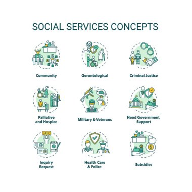 Social services concept icons set. Criminal justice. People medical and financial support organizations idea thin line RGB color illustrations. Vector isolated outline drawings. Editable stroke icon