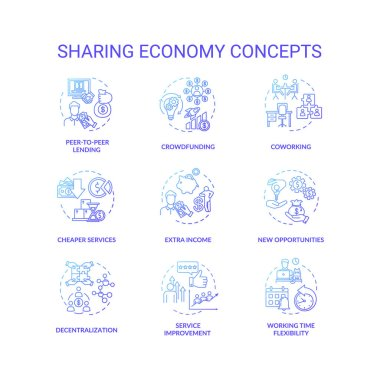 Sharing economy blue gradient concept icons set. Service improvement with investment. Collaborative work on business project idea thin line RGB color illustrations. Vector isolated outline drawings icon