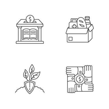 Activism pixel perfect linear icons set. Donation to public library. Humanitarian aid. Food bank. Customizable thin line contour symbols. Isolated vector outline illustrations. Editable stroke icon